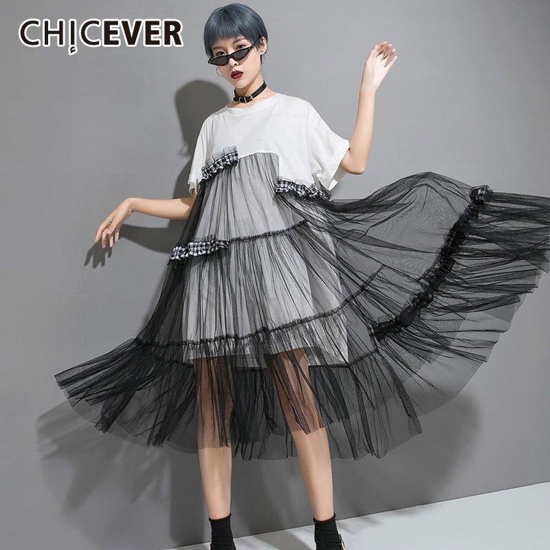 5f33539f67ca2 CHICEVER Summer Casual Patchwork Mesh Hem Women Dress O Neck Short Sleeve  Loose Plus Size Asymmetrical Female Dresses 2019 New