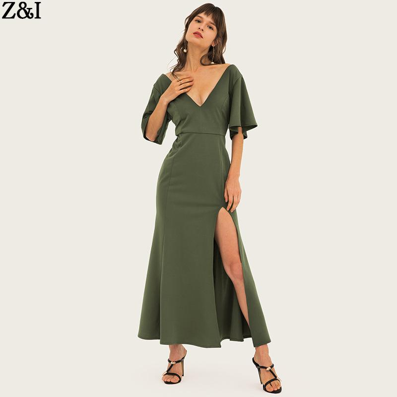 buy online 2f639 38f53 Cross-Border-Frauen-Außenhandel Kleider Sommer reiner V-Ausschnitt unten  Rock Temperament A-förmigen Rock Mittellanger Rock-
