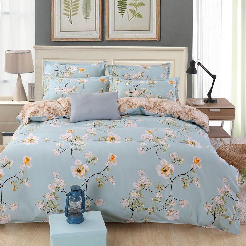 Flower Bed Linen Floral Bedding Set Queen King Size Duvet Comforter