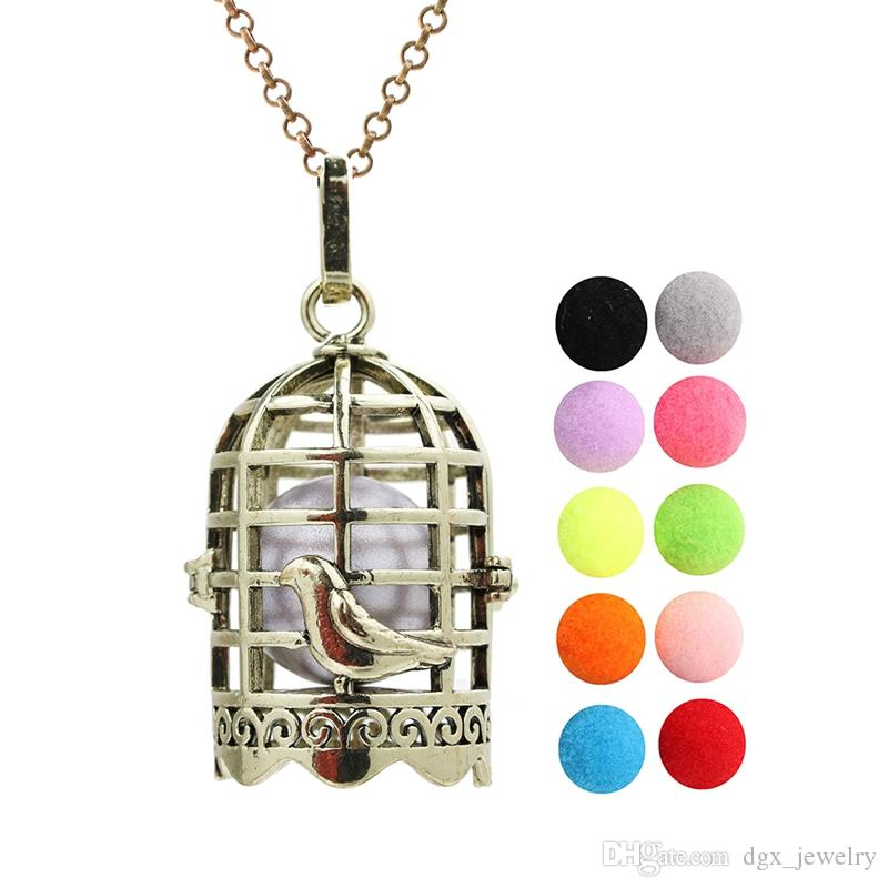 Antique Bronze Birdcage Aromatherapy Perfume Diffuser Locket Lave Beads Cage Angel Bola Chime Ball Pendant Floating Charms With Chain