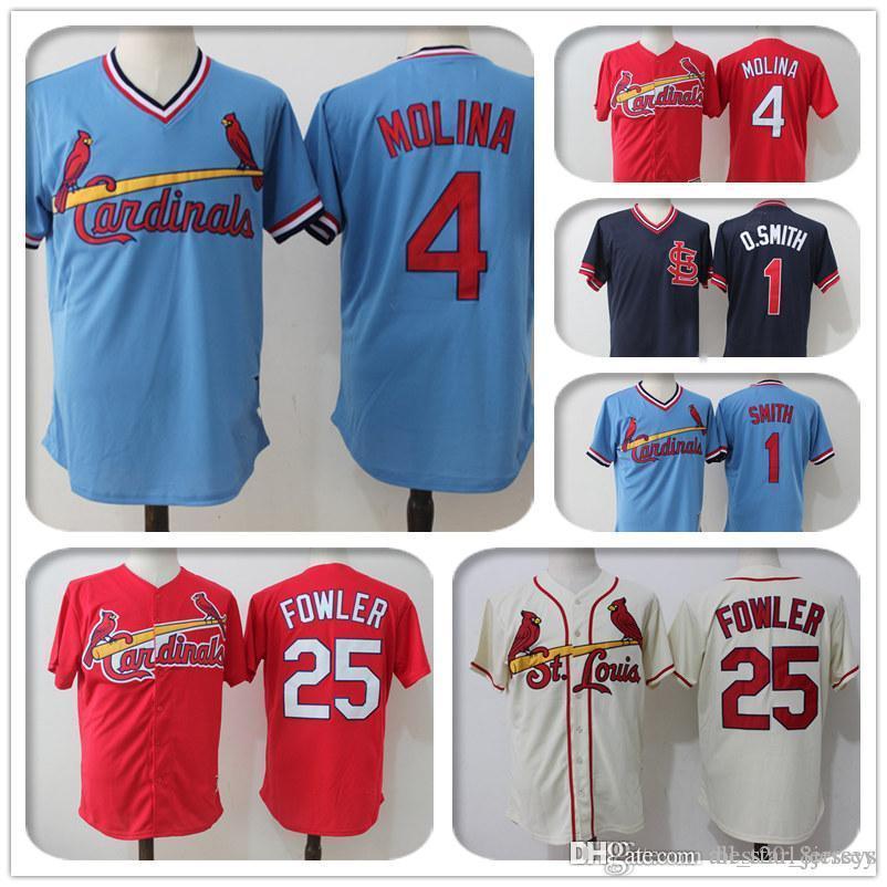 super popular 693a5 809bc St Louis Cardinals 25 Dexter Fowler Jersey 1 Ozzie Smith Jersey 4 Yadier  Molina Jerseys Majestic Coolbase Jersey a1