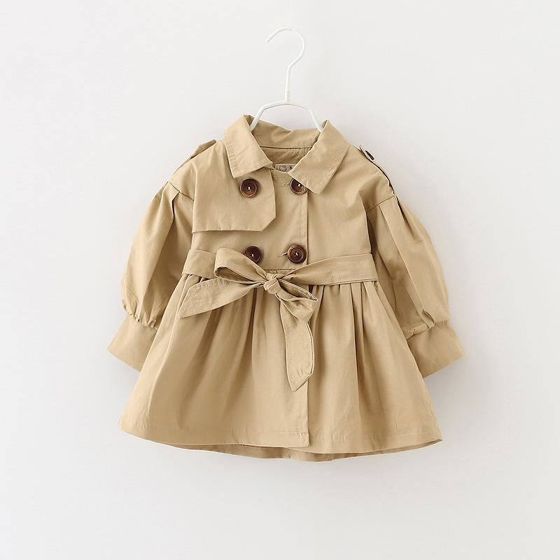 Baby Coats and Jackets Girl Baby Overcoat Set Formal Clothes Long Coats For Girls 18-24 Months For Spring Autumn Khaki Pink
