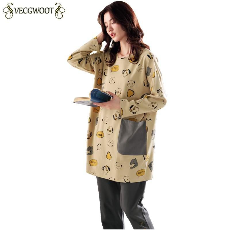 c831d5b60 2019 Pajamas Women Autumn Winter 2018 Fashion New Long Sleeved Home Service  SuitCute Cartoon Print Pajama Sets Comfortable PR454 From Mudanflower, ...