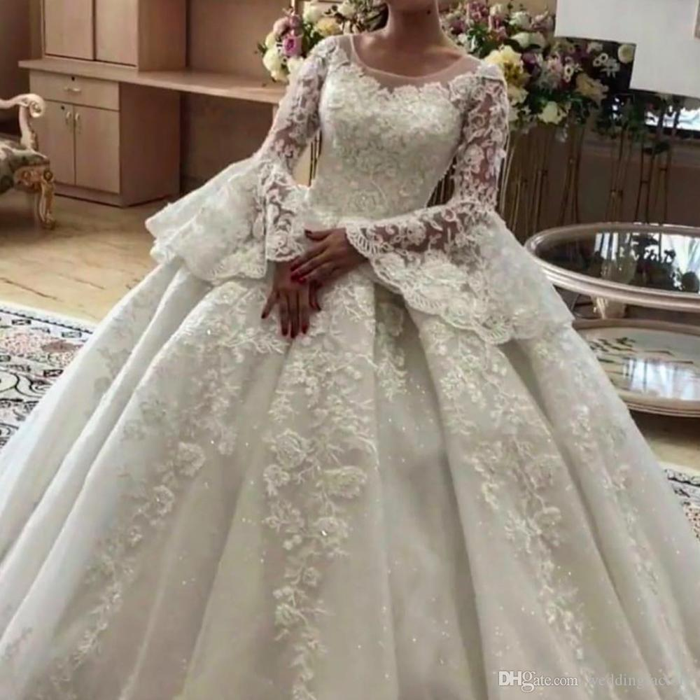 Ivory Lace Bodice Ball Gown Wedding Dress With Sheer Long: Charming Princess Ball Gown Wedding Dresses Bridal Gownss