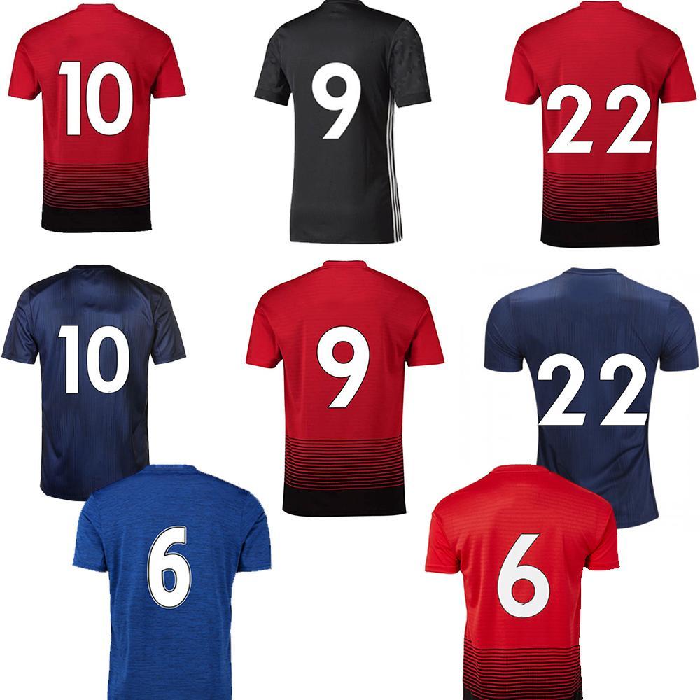 best website cb2b9 d30a0 2018 19 Pogba Soccer Jersey #10 Rashford #9 Lukaku New Football Shirt  Manchester High-quality Home Away Soccer Jersey #7 Sanchez