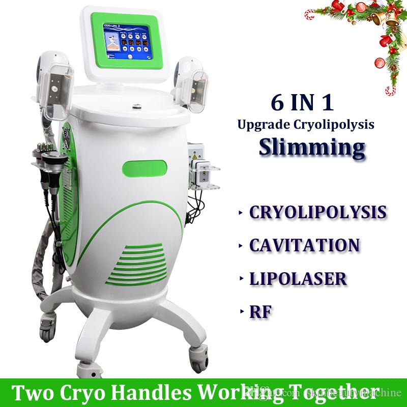 6 IN 1 Cryotherapy Fat Freezing Machine Cryolipolysis Body Slimming Fat Freeze Lipo Laser Cavitation Skin Tightening Machine Best Prices