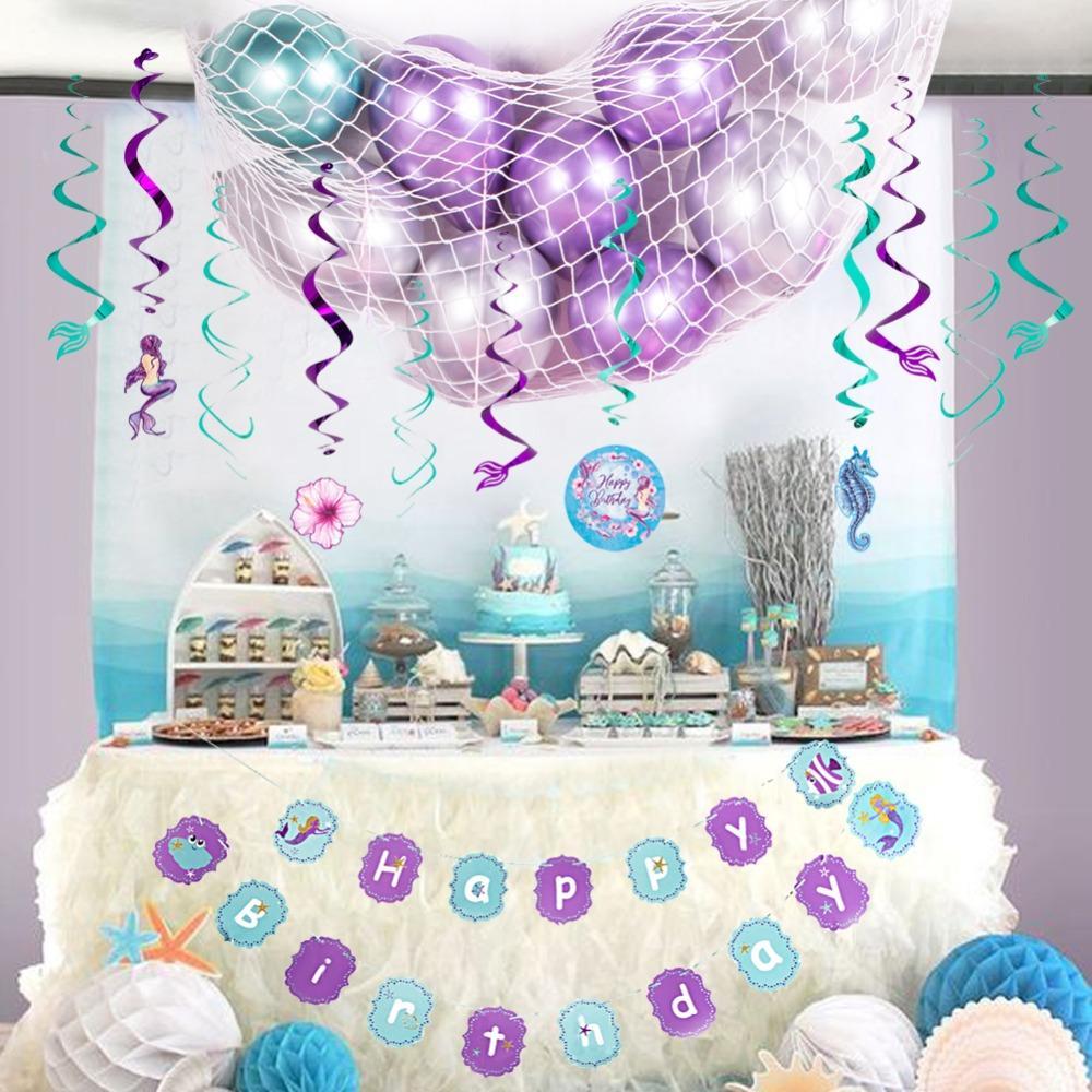Olabilir Mermaid Tema Doğum Günü Partisi Dekorasyon Kiti Metal Balonlar Doğum Günü Afiş Folyo Swirls Balıkçılık Net Deniz Altında Parti