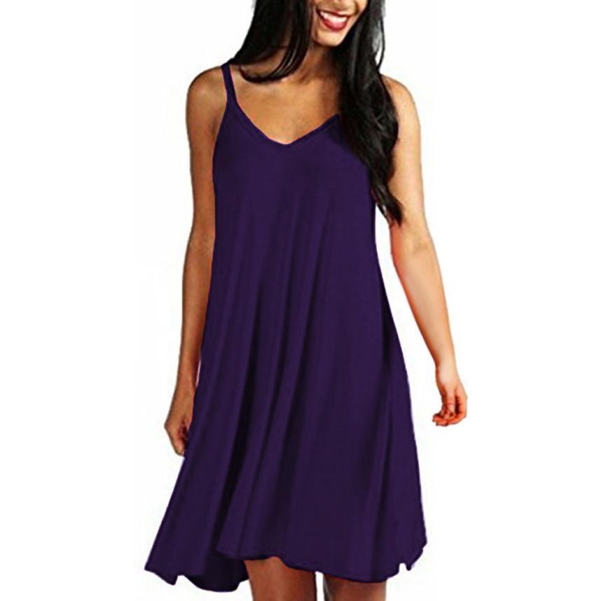 hot sale online 1c1a7 f7177 snowshine4 # 3003 2019 Moda casual solidi pianura delle donne semplici  abiti estivi sling vestiti estivi