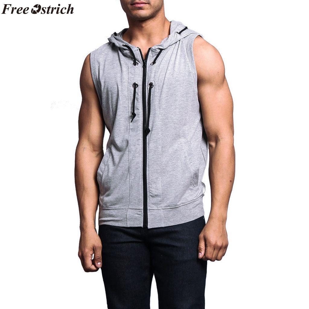 low priced d00c9 c6e4d FREE OSTRICH Fashion Herren Sport Hoodie Fitness Pullover ärmelloses  Sweatshirt Herren Einfarbig ärmellose Weste mit Kapuze