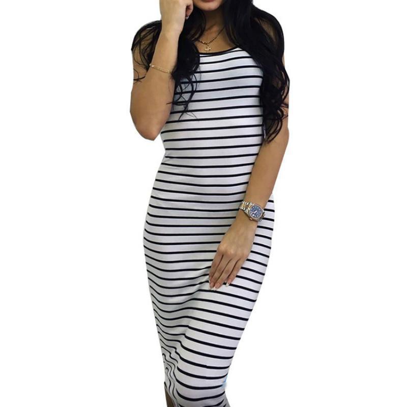 5994abfca459e 2019 Women Striped Strap Pencil Dress Women Sexy Sleeveless Slim Summer  Sundresses Casual Street Dresses Vestidos Online with  32.72 Piece on  Jamie11 s ...