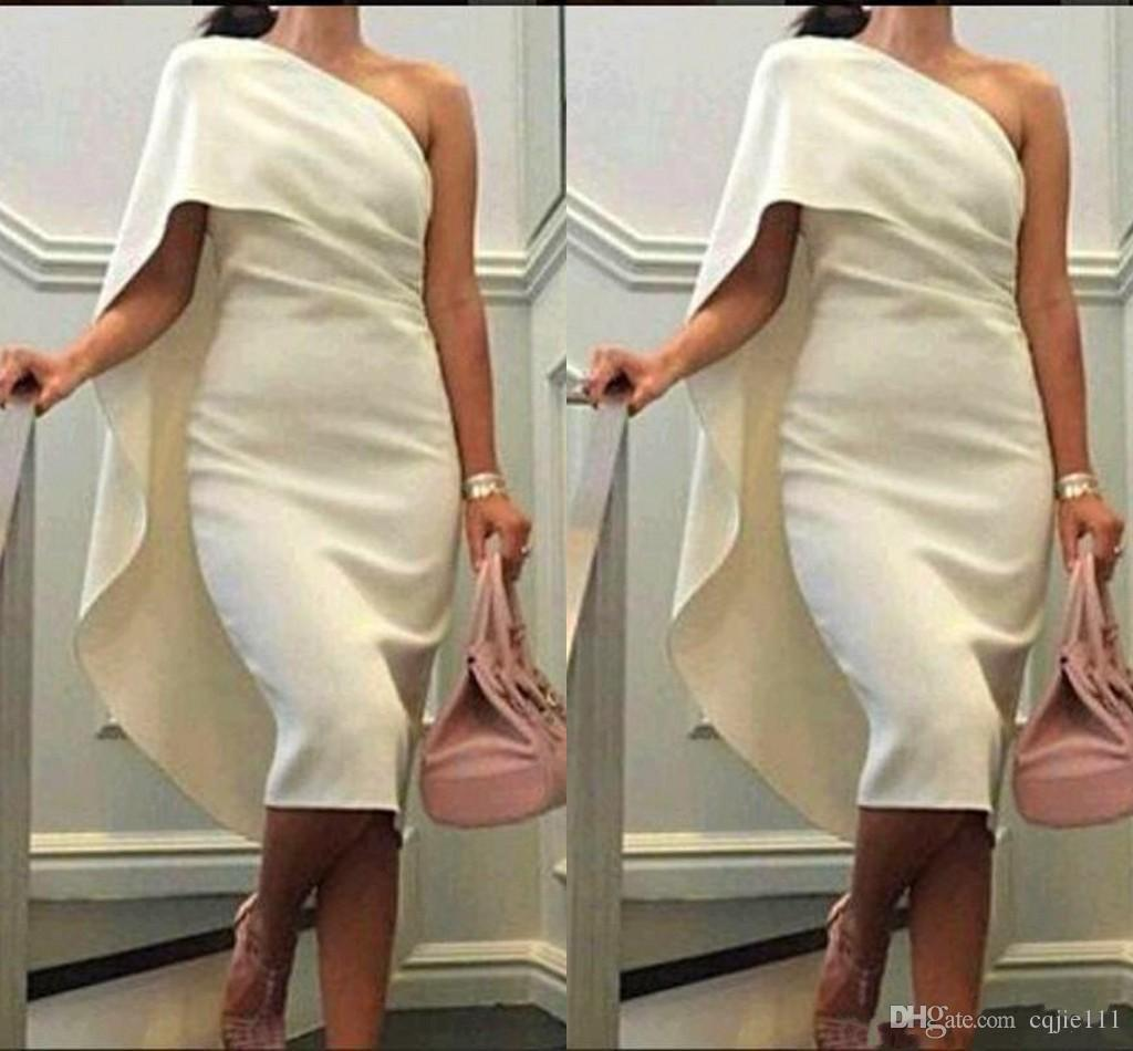 One Shoulder Sheath Prom Dresses With Cape Tea Length Party Dress Plus Size Formal Homecoming Gowns 2019 Short Cheap Women Cocktail Dresses