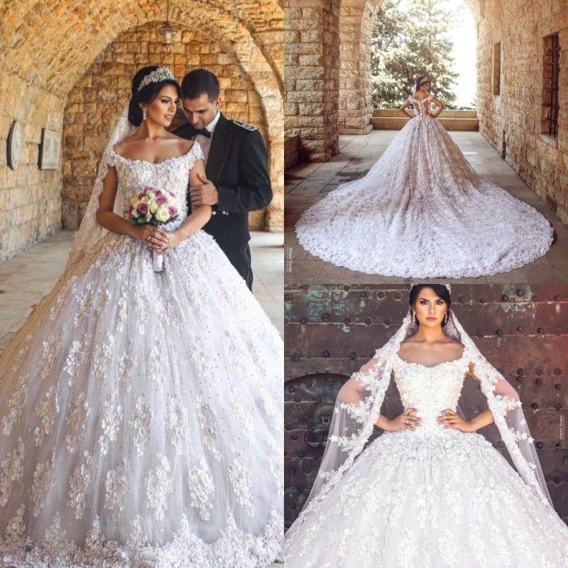 5b71641f2981 Acquista 2019 Luxury Princess Ball Gown Abiti Da Sposa Scoop Lace Beads  Court Train Abiti Da Sposa Plus Size Beach Abito Da Sposa Robe De Mariée A   254.08 ...