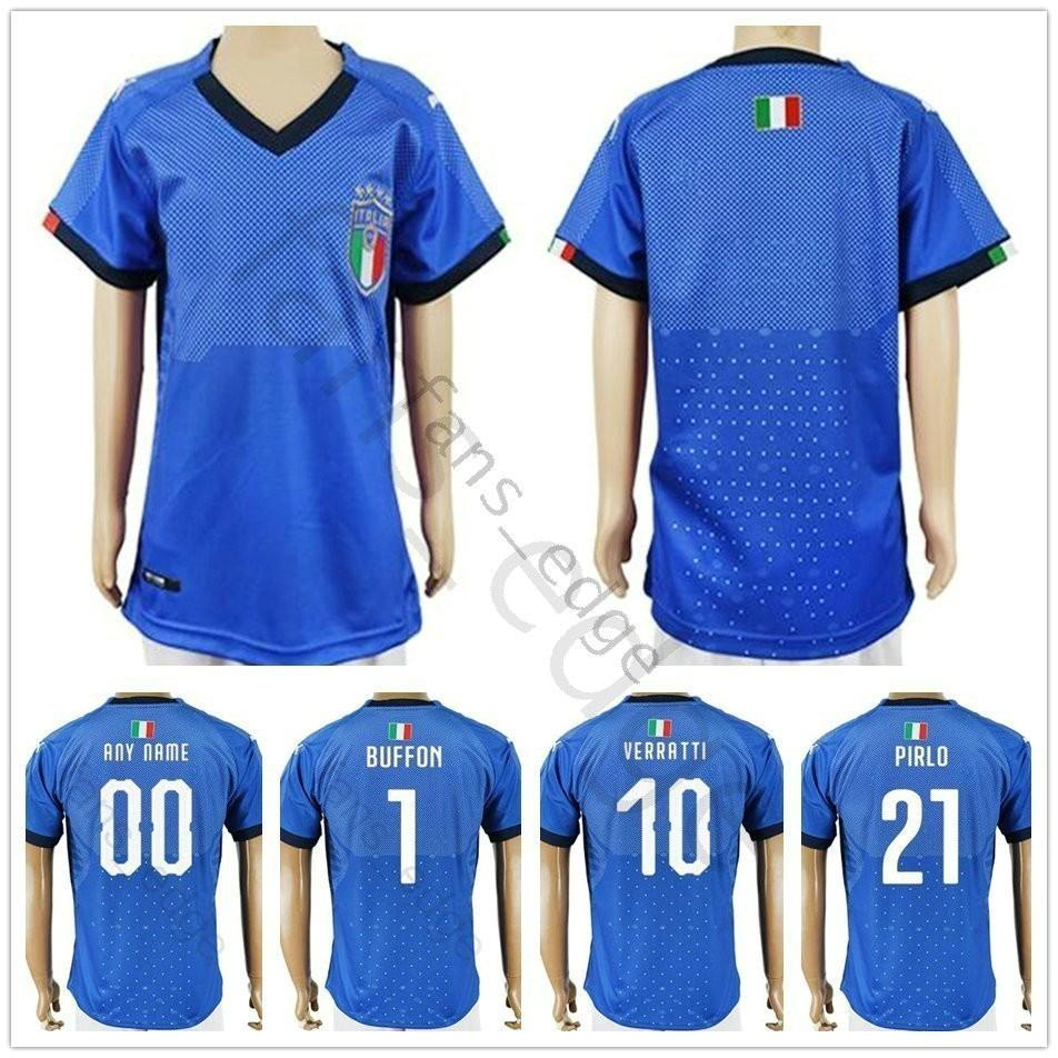 sports shoes 390db 793e3 Kids Italy Soccer Jerseys BUFFON INSIGNE ZAZA PIRLO IMMOBILE BONUCCI  VERRATTI Custom Home Blue Youth Boys Football Shirt