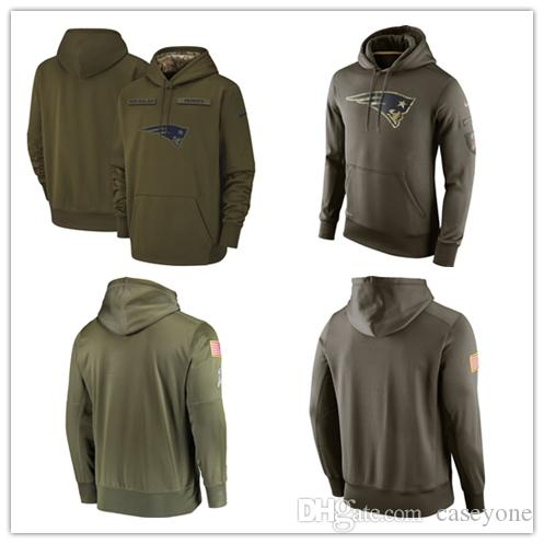 new style d782f afb8e Men's New Patriots jersey fashion movement Olive Salute to Service Pullover  football Hoodie 2018-2019 NEW