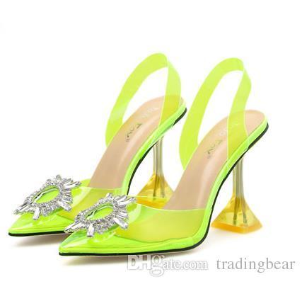 Plus size 35 a 40 41 prata strass PVC transparente mulheres transparentes sapatos bombas dedo apontado salto alto bridal casamento sapatos de designer de luxo