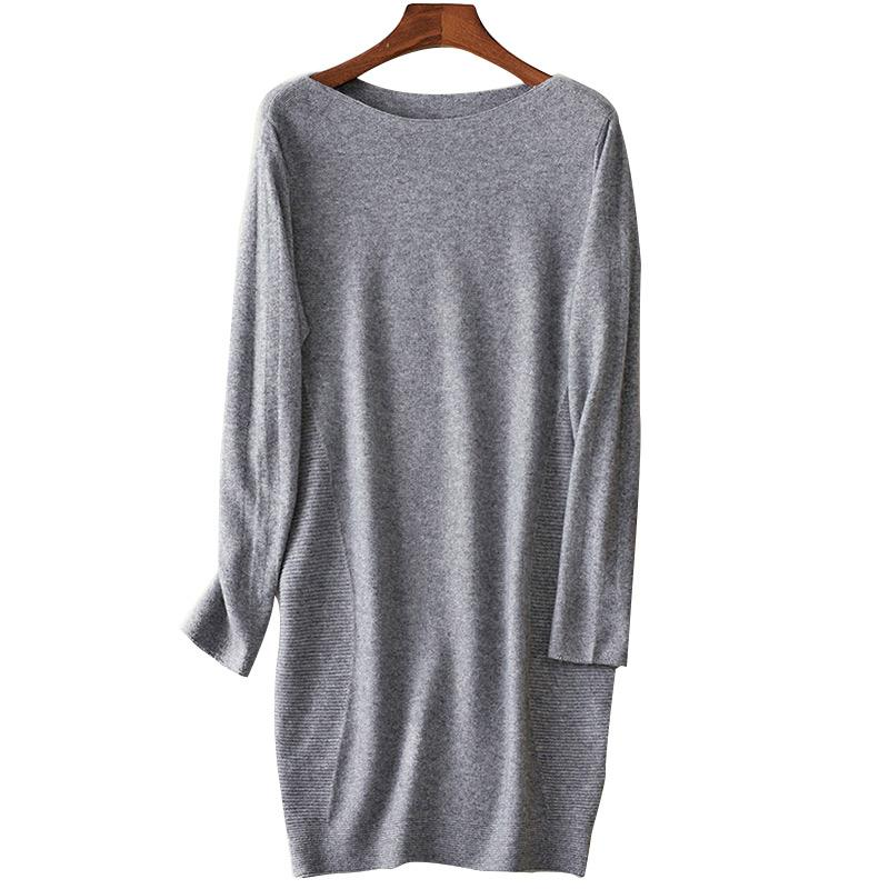 7f3b79fd19879 2019 Women Cashmere Sweater 2019 Winter Autumn Wool Female Pullovers Medium  Length Sweaters Knitting Shirt Dress Luxury Boat Neck From Watch2013, ...