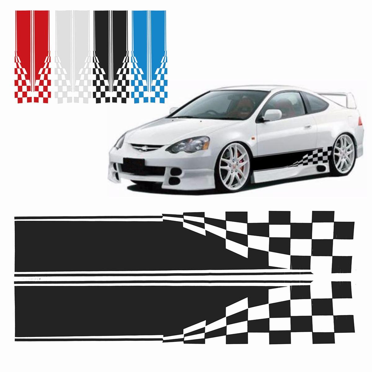 2019 2x Checkered Flag Auto Waterproof Racing Stripe