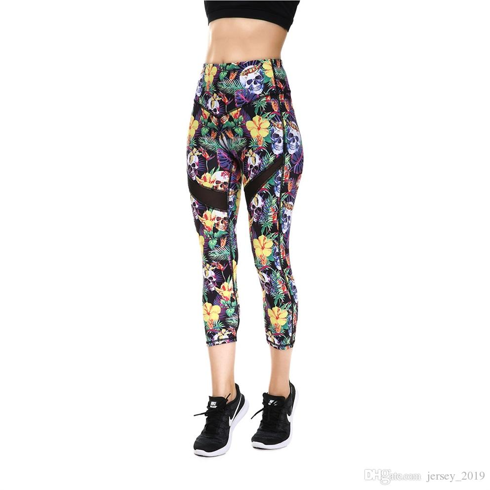 864fe329f5f1f 2019 JIGERJOGER 2018 Spring Summer Tropical Palm Leaf Floral Yellow Skull  Print Cropped Capris Legging Yoga Shorts Pants Mesh Patches #220811 From ...