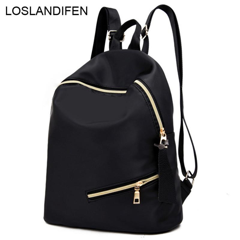 d7fd60afa1fe 2019 New Women Backpacks Nylon College Bags For Teenage Girls Ladies  Travel  Backpack Black School Bags Leather Backpack Laptop Backpack From Chingkee