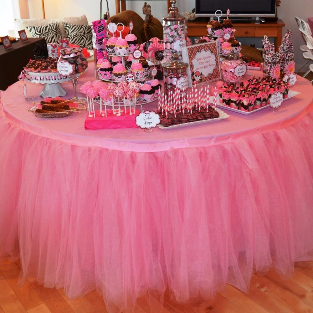 f0333bf89 1 unids tul falda de mesa diy tutu vajilla faldas para la boda decoración  cumpleaños decoración baby shower favores partido textil para el hogar ...