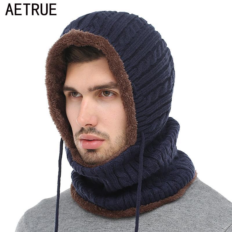 f104f8733ee46 Acheter AETRUE D'hiver Tricoté Chapeau Bonnet Hommes Écharpe Skullies  Bonnets D'hiver Chapeaux Pour Femmes Hommes Casquettes Gorras Bonnet Masque  Marque ...