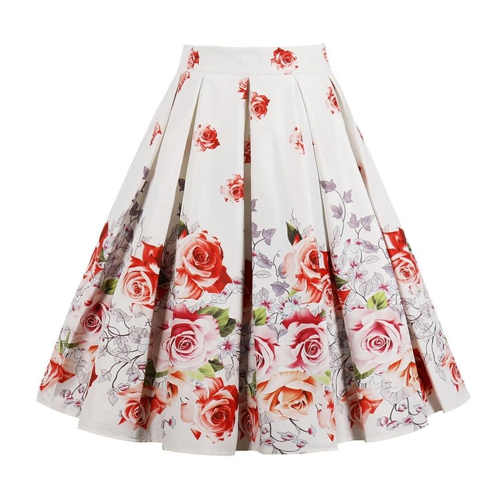 Retro Floral Print Vintage Skirts Women Plus Size High Waist Knee-length Skirts Casual Ruffles Midi Skirts A-line Party Skirt T319052903