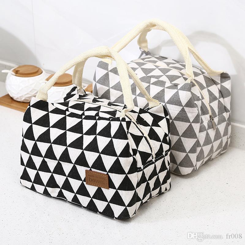 Geometrische Thermal Taschen Frauen Tragbare Isolierte Babynahrung Fütterung Milchflasche Warm Picknick Wasserdichte Mittagessen Handtaschen