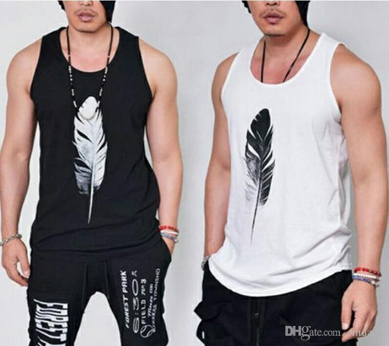 c6113ba3e5b Summer New Fashion Casual Loose Solid Feather Print Sleeveless Hip Hop Men  Tank Tops Male Cool Harajuku Sportwear White Black Online with  30.29 Piece  on ...