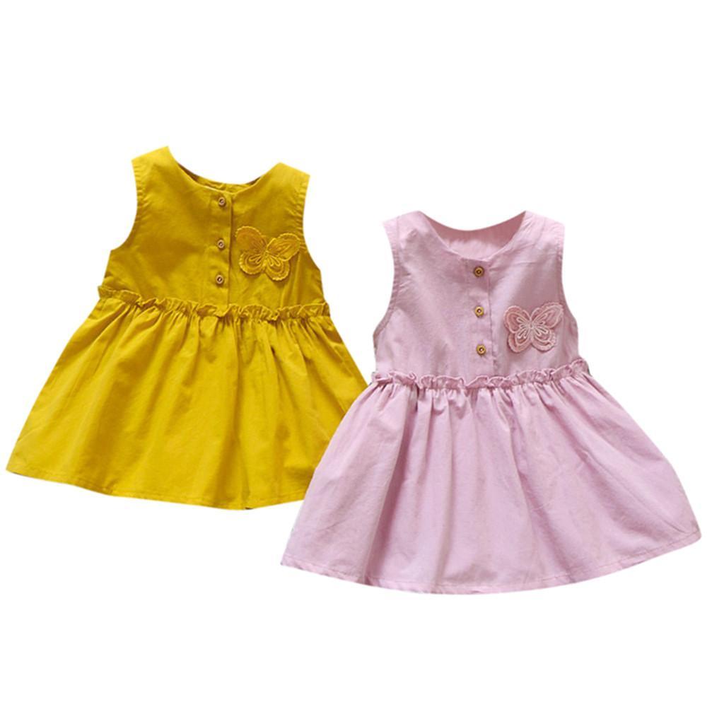9f55e9424d939 MUQGEW Baby Boy Girls Clothes Toddler Kids Baby Girls Solid Sleeveless  Butterfly Dress Sundress Princess Dress roupas infantis