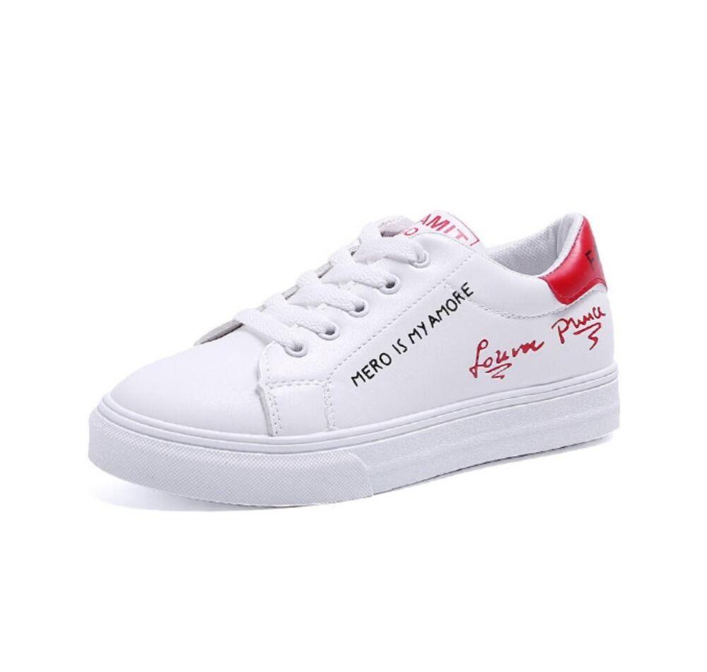 ad5784bbbb Compre 2019 Primavera Tenis Feminino Lace Up Sapatos Brancos Mulher PU De  Couro Sapatos Femininos Casuais Mulheres Bailarina Flats Chunky Sneakers De  ...
