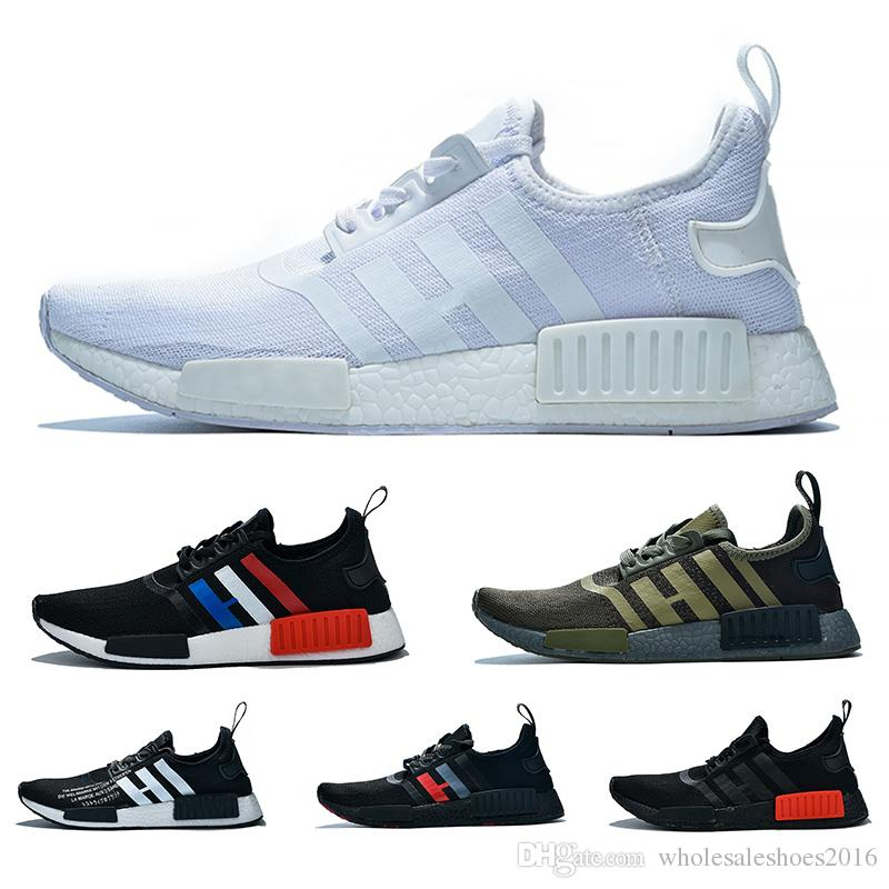 nouveau style 67e74 8cb33 NMD R1 Boost Casual Running Shoes For Men Women atmos White Black Yellow  Olive Cheap Designer Trainer Sport Sneaker Size 36-47