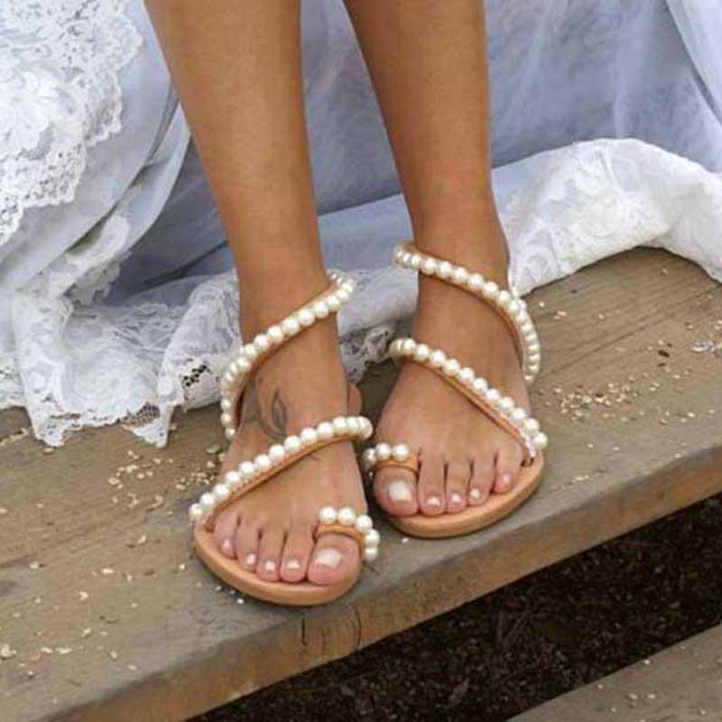 LASPERAL Women Sandals Summer Shoes Flat Pearl Sandal Comfortable String Bead Slipper Casual Simple Bohemia Sandals Dropshipping