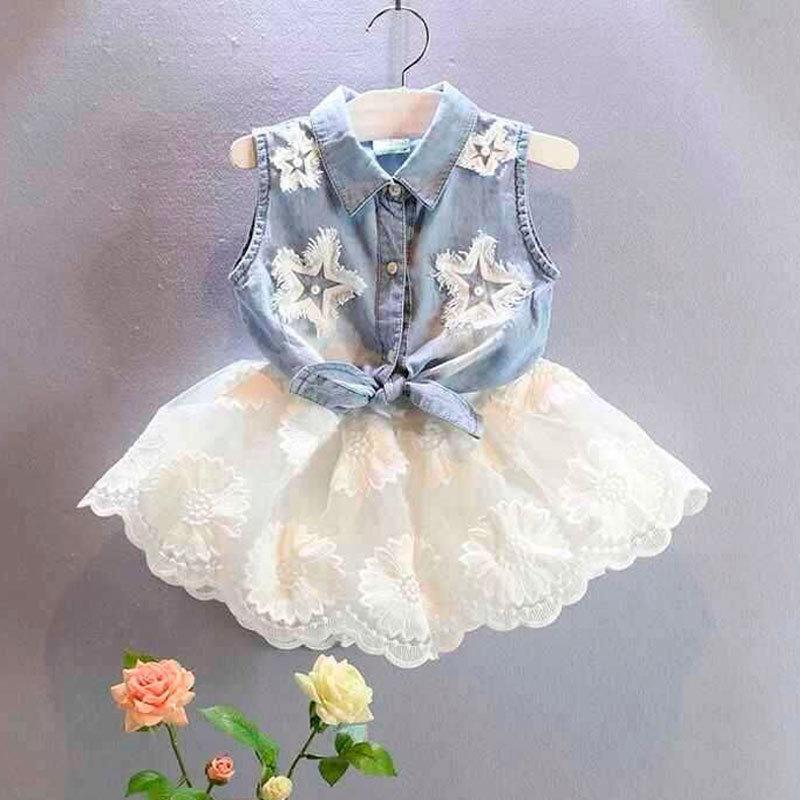 59a130c3f621 Acquista Summer Girls Fashion Outfit Bambini Denim Mango Minus + Tutu Dress  2 Pz Tute Neonate Vestiti Da Festa Abbigliamento Da Sposa Set A  16.97 Dal  ...