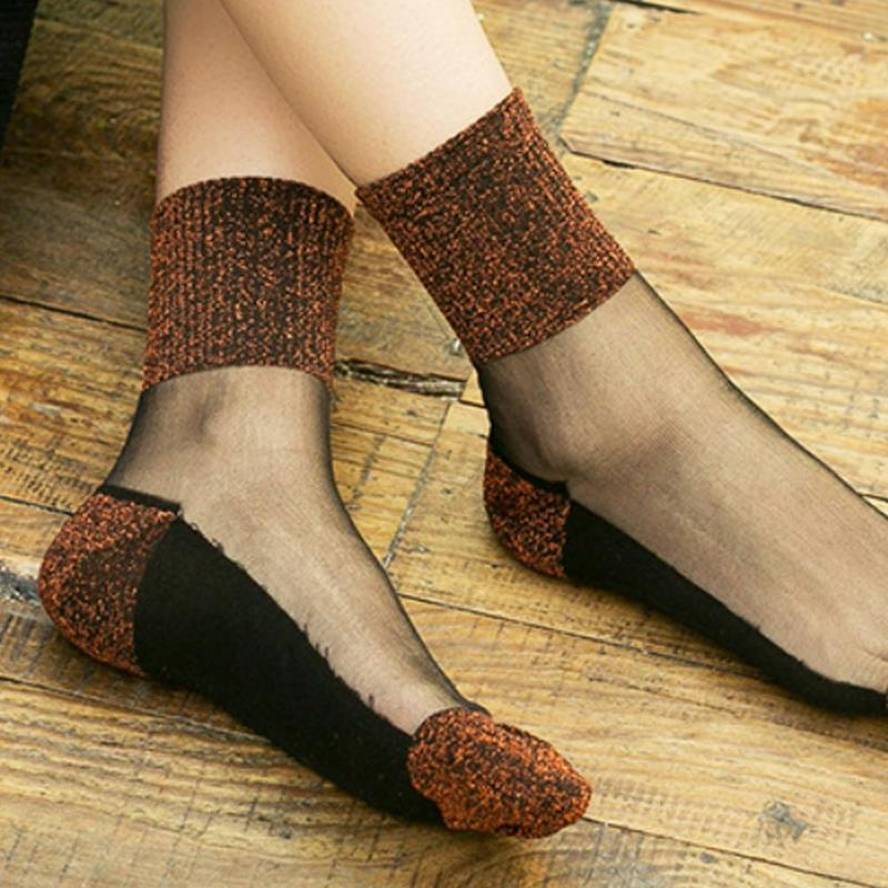 Sexy Lace Mesh Fishnet Socks Transparent Stretch Elasticity Ankle Socks Women Net Yarn Sock Summer Thin Cool Shiny Silk