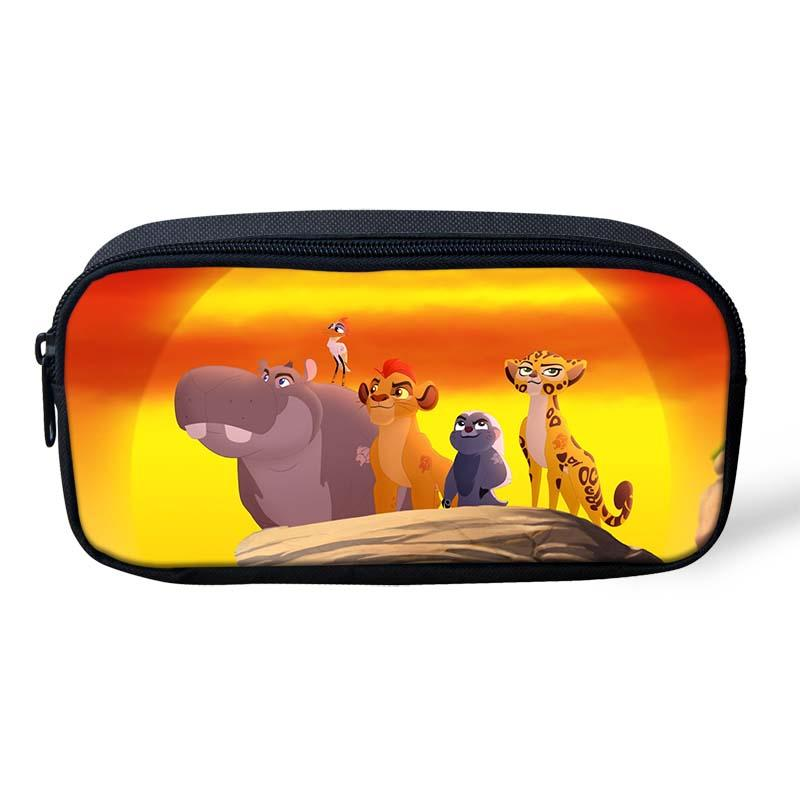 New The Lion Guard Cartoon Pencil Bag Polyester 3D Printing Stationary Bag Students Pen Pouch Holder Kawaii Roll School Pencase