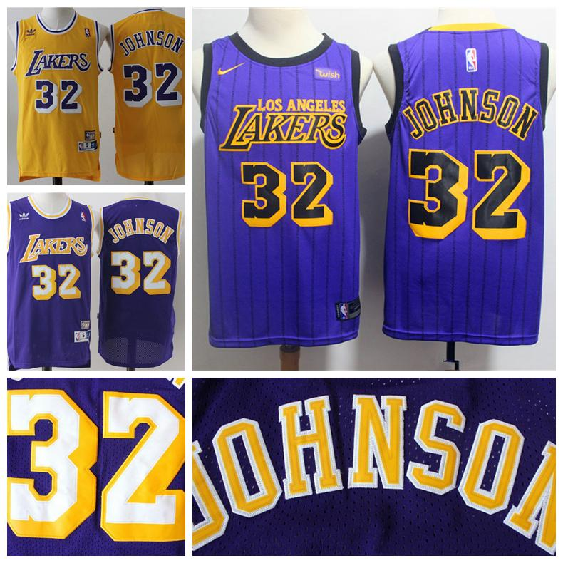 2018 Mens Los Angeles Lakers 32 Earvin Johnson Retro Basketball Jerseys  Stitched Lakers New City Edition Earvin Johnson Jerseys Yellow Purple From  Xmas gift ... b781fcfdf0