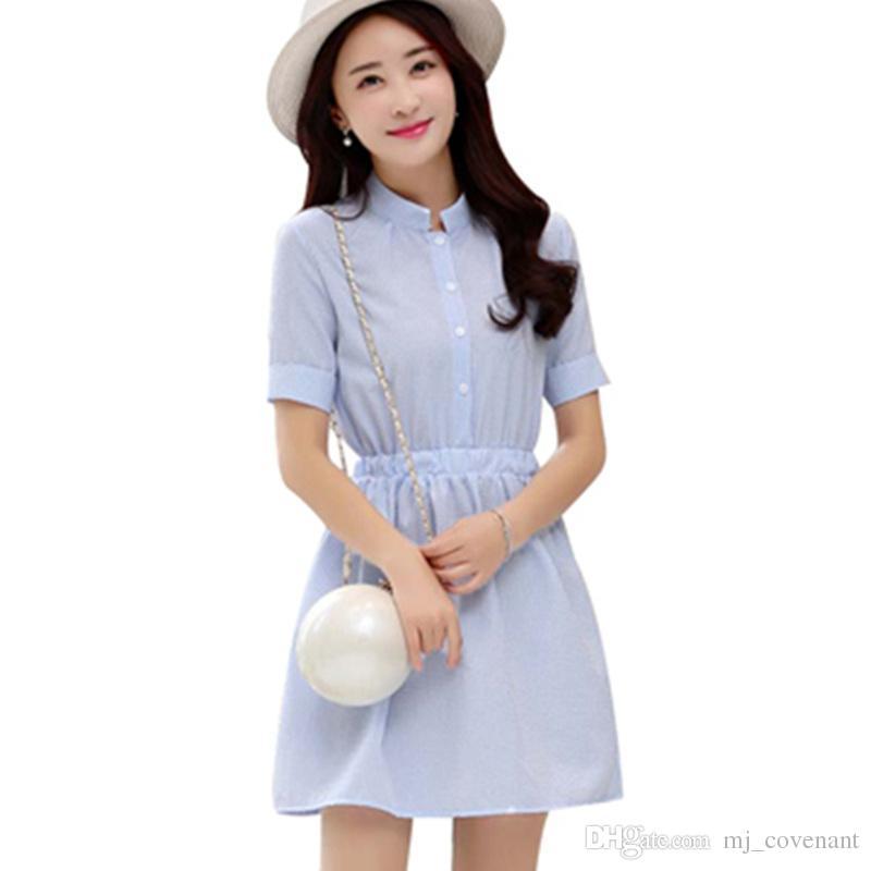 Camisa De Vestir Para Mujer Vestido De Verano 2017 Moda Coreana Para Mujer De Manga Corta Blanca Y Azul De Lino A Rayas Vestidos Casuales Para Damas
