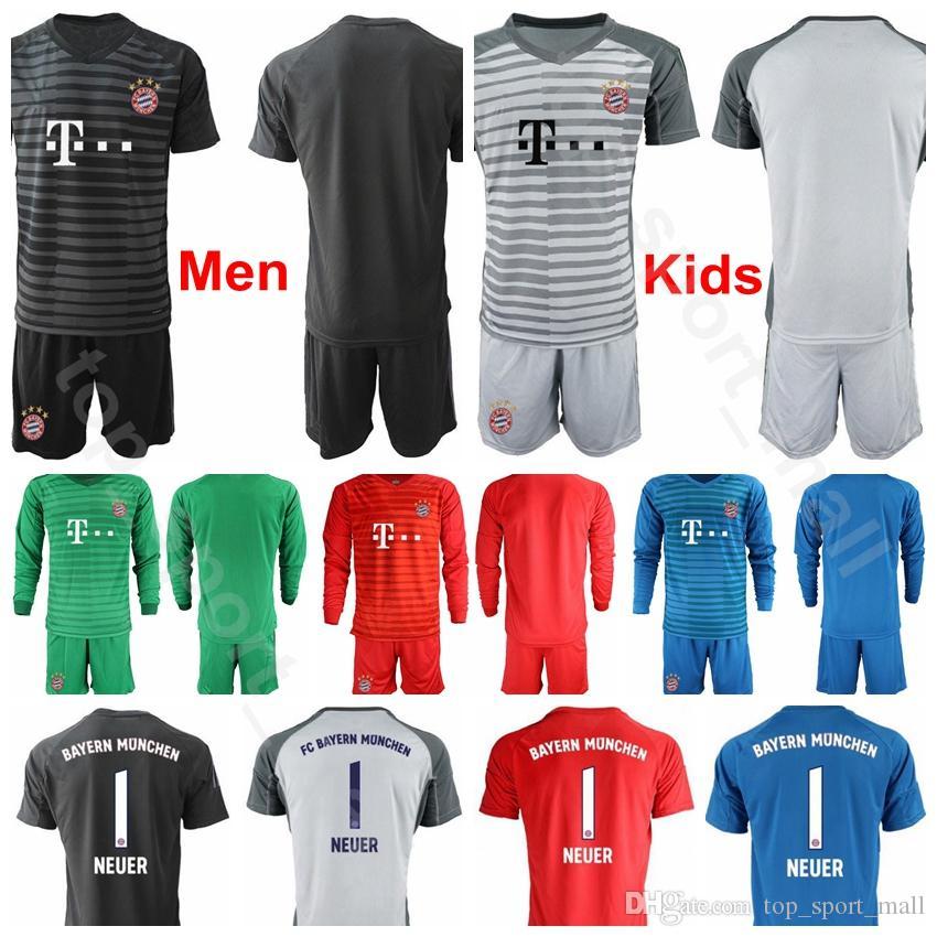 hot sale online 99d3a a4951 Men Kids Goalkeeper Bayern Munich Soccer 1 Manuel Neuer Jersey Long Sleeve  26 Sven Ulreich 1 Oliver Kahn Football Shirt Kits Uniform