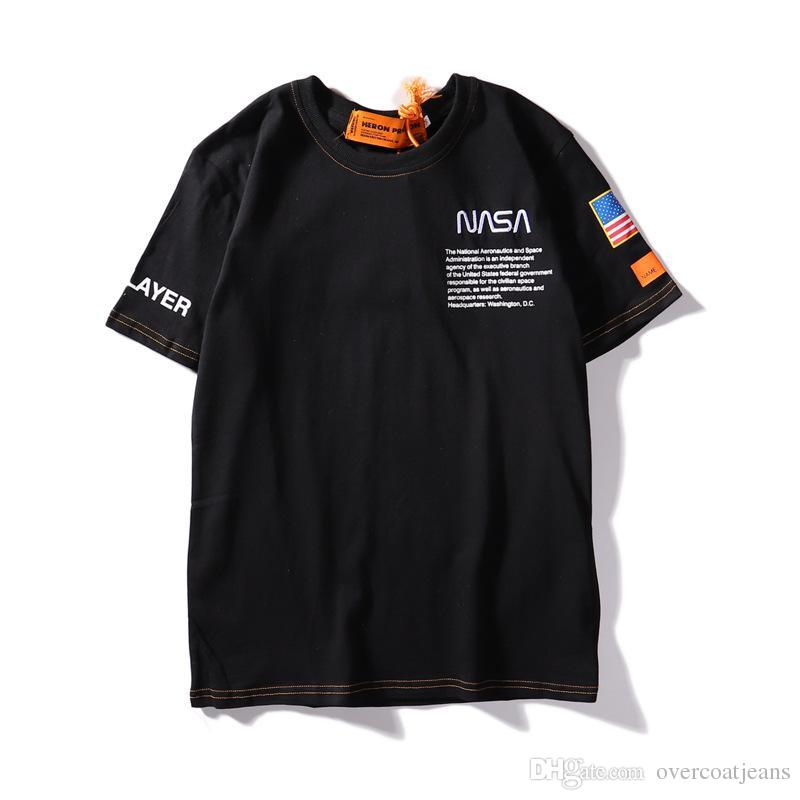 e47394e764b72 New York Fashion Heron X NASA Co Branded Embroidered Men Women Street  Luxury Cotton Casual Short Sleeve Mens Designer T Shirts Tee Shirt Shop  Online One T ...