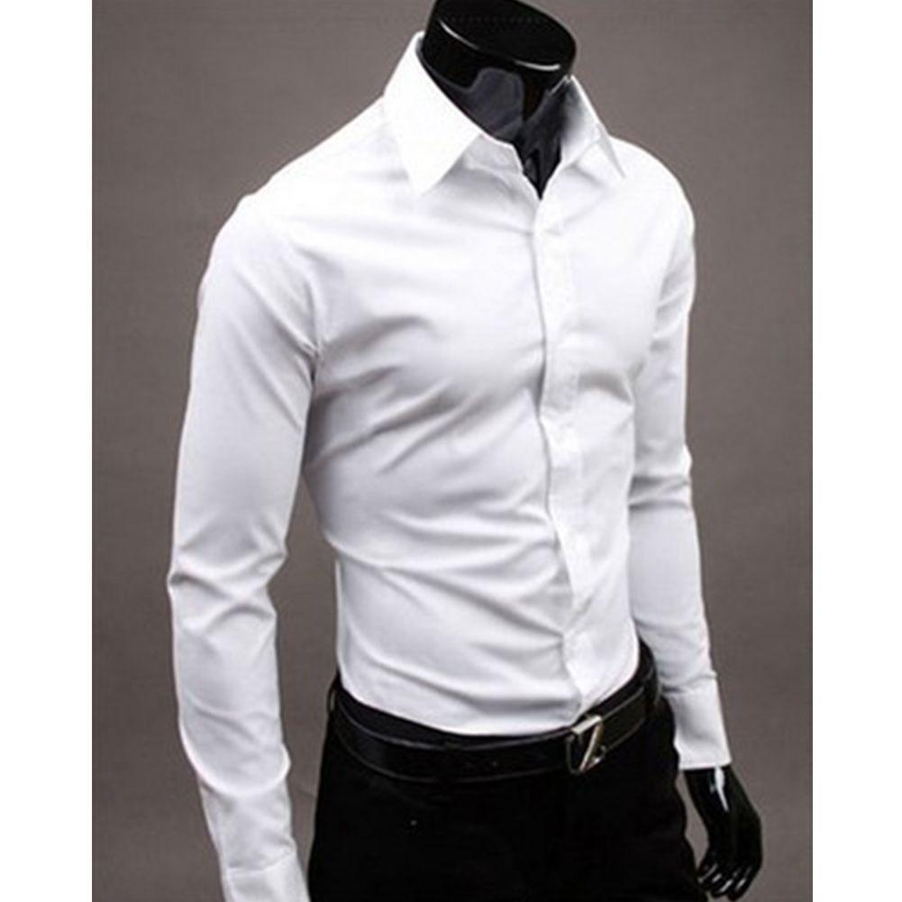 c369649c5bfc Camisa de hombre Hinmay Color puro Algodón Casual Formal Tops Vestido de  oficina slim fit de manga larga (XL, oscuro)
