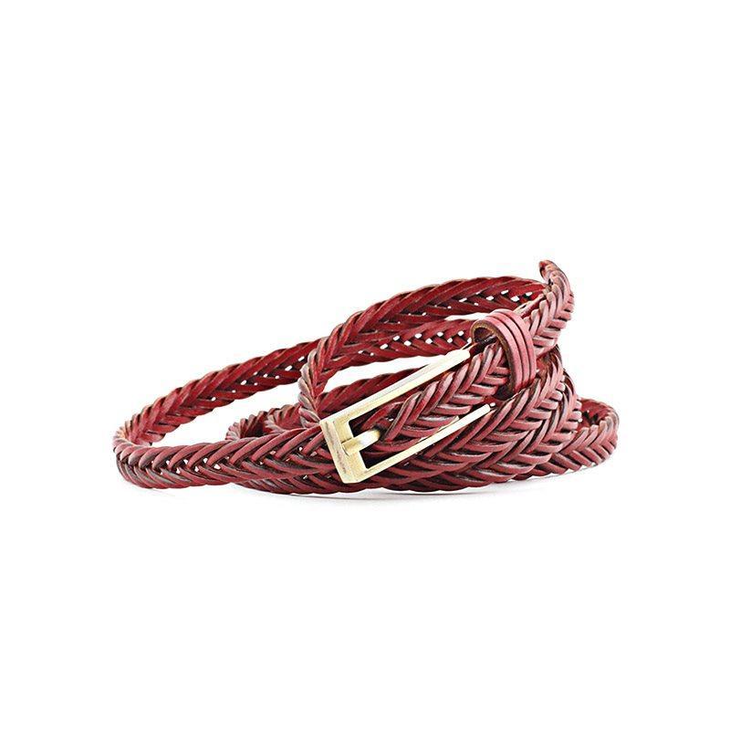 Women Fashion PU Leather Weaved Braided Waist Belt Fashion Accessory