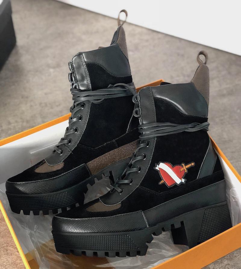 Las mujeres forman Martin botas de piel de becerro del tobillo Top Desert abeja zapatos gruesos de tacón alto botas de vaquero Diamantes Negro Marrón Martín botines EU42