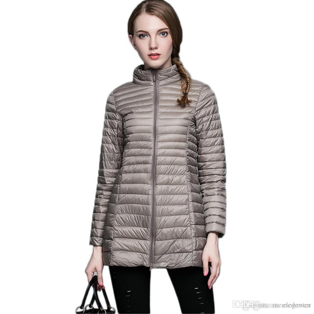 93d9976e5c308 New Winter Women Warm Down Jacket Medium Long Slim Ultra Light Down ...