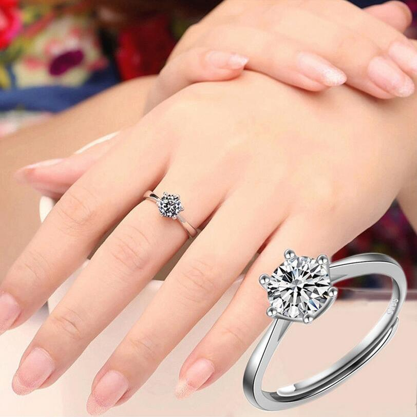 Which Hand Wedding Ring Female.Six Claw Zircon Wedding Rings For Women Resizable Forefinger Ring Engagement Ring Female Sterling Silver Color Anel Bijoux Gift