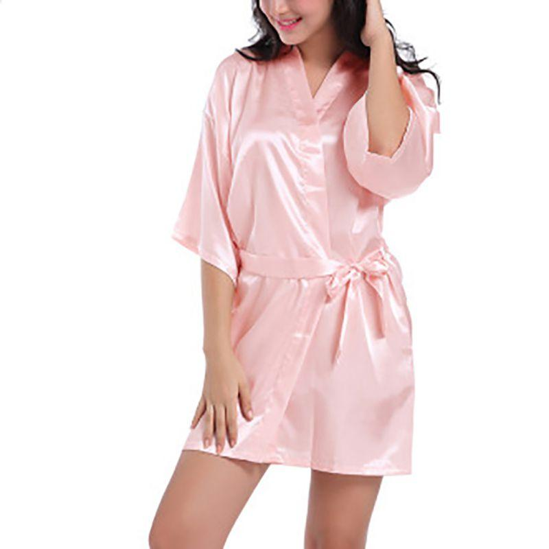 b393c4c82ede 2019 Women Sexy Solid Silk Robes Wedding Bride Bathrobe Kimono Cardigan  Dress Pajamas Soft Nightwear Bathing Suits Lingerie Belt Girl From Maoku