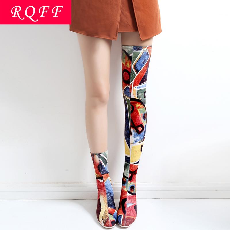 RQFF Brand Boots Women Shoes High Heels Over-the-Knee Boot Cow Leather booties Party Sexy Ladies Shoe With Box Plus size 34-43