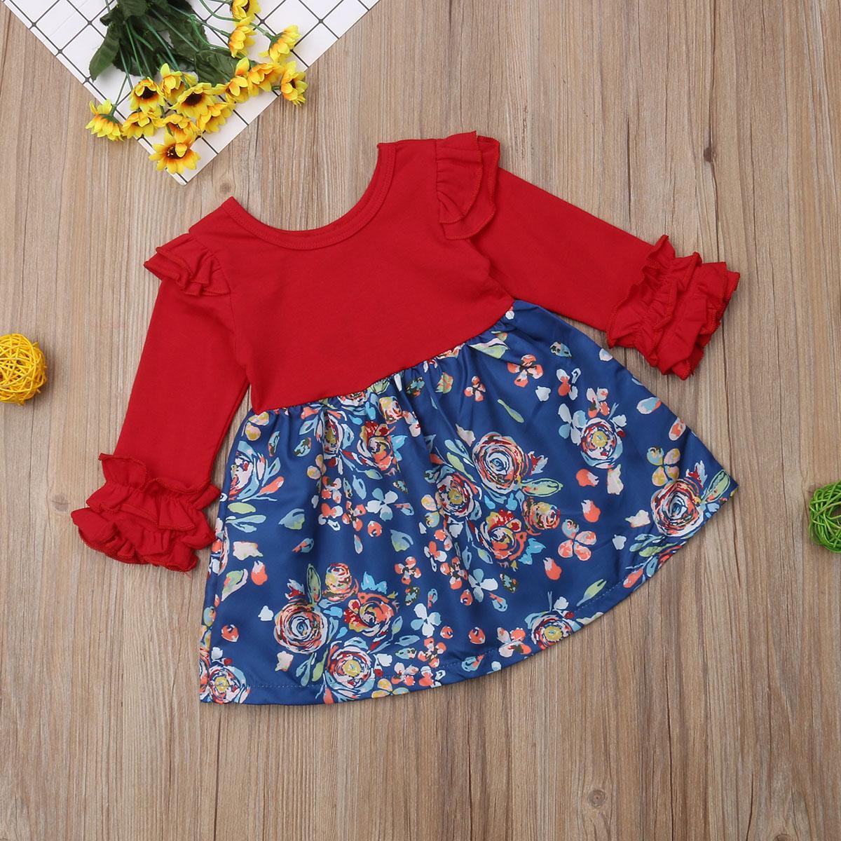 -Nascidos crianças Bebés Meninas Ruffles Autumn floral vermelho da luva do partido longo Pageant Fashion Dress Tutu cintura alta Mini roupas vestido