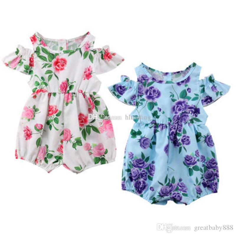 febb171273e 2019 Baby Girls Floral Print Romper 2019 Summer Boutique Flower Jumpsuits  Fashion Kids Designer Climbing Clothes C6214 From Greatbaby888