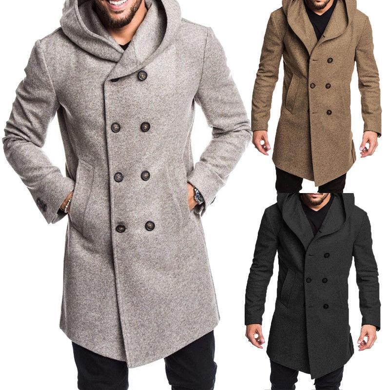 Wool & Blends Jackets & Coats 100% Quality Custom Made 2017 Mens Green Woolen Trench Coats Slim Fit Brand Fashion British Style Windbreaker Overcoat