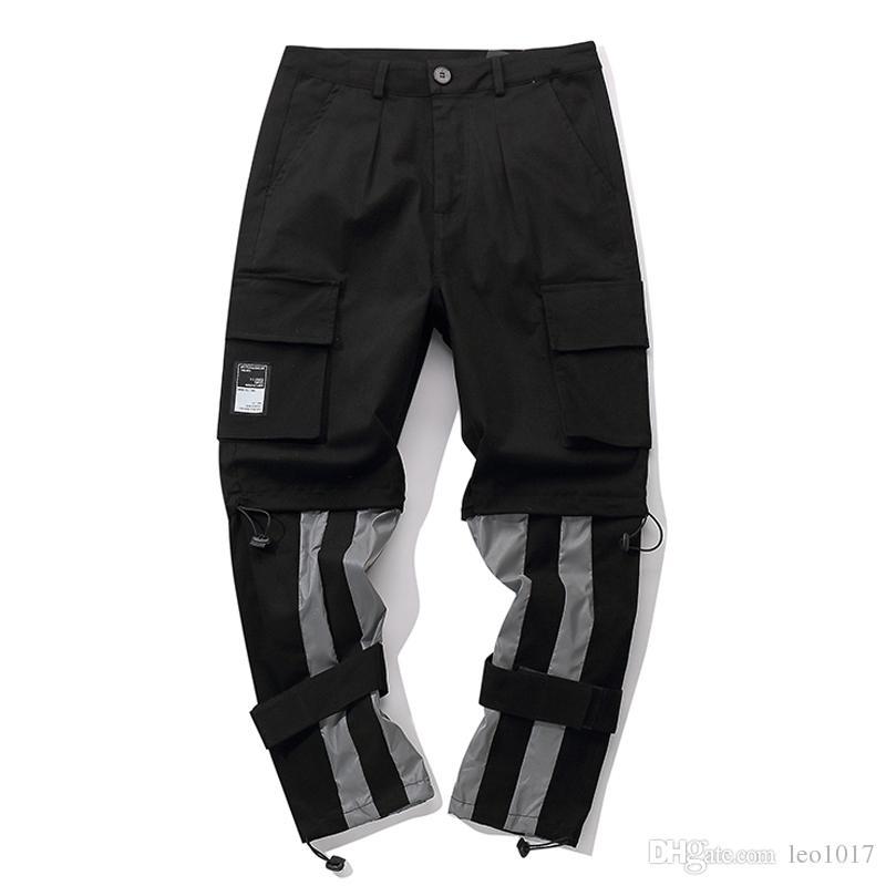 c7dd382b4 Pantalones de carga Reflection Men 2019 Pantalones nuevos de hip hop  Pantalones de hombre de apertura completa de pierna ajustable